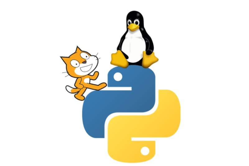 Learn computer programming - Scratch and Linux logos climb on Python's logos