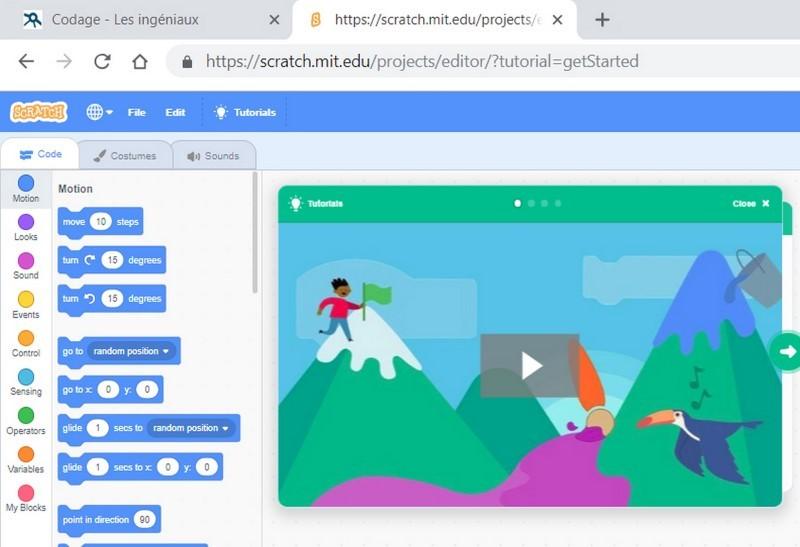 Ecran de Scratch avec les blocs élémentaires et la scène