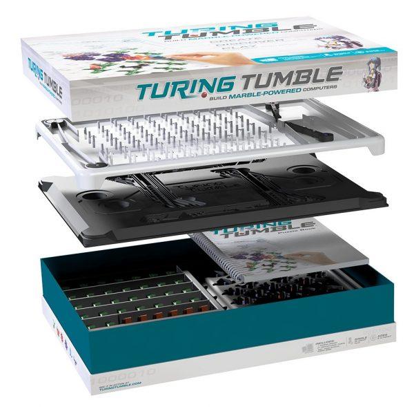 Intérieur de la boite du jeu Turing Tumble