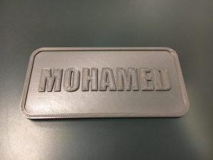 Une plaque avec son prénom: premier projet d'impression 3D